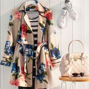 Adorable Floral Trench Coat Size 8 - So Cute!